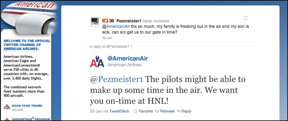 """Airlines Respond as Passengers Tweet Their Troubles,"" reports NBC Dallas-Fort Worth, noting that American Airlines and Soutwest Airlines have started monitoring Twitter to show customers that they're listening. And as its […]"